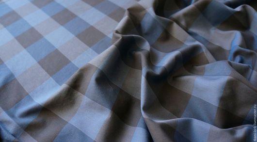 Шитье ручной работы. Ярмарка Мастеров - ручная работа. Купить Хлопок итальянский. Handmade. Синий, шоколадный, клетка, хлопок для шитья