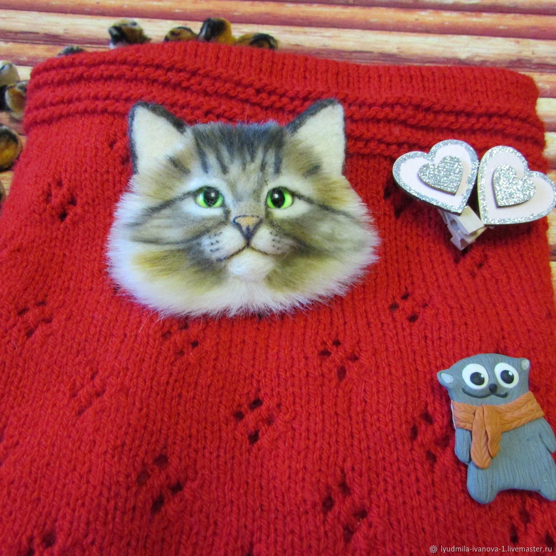 Брошь брошка кот из шерсти, Брошь-булавка, Тамбов,  Фото №1