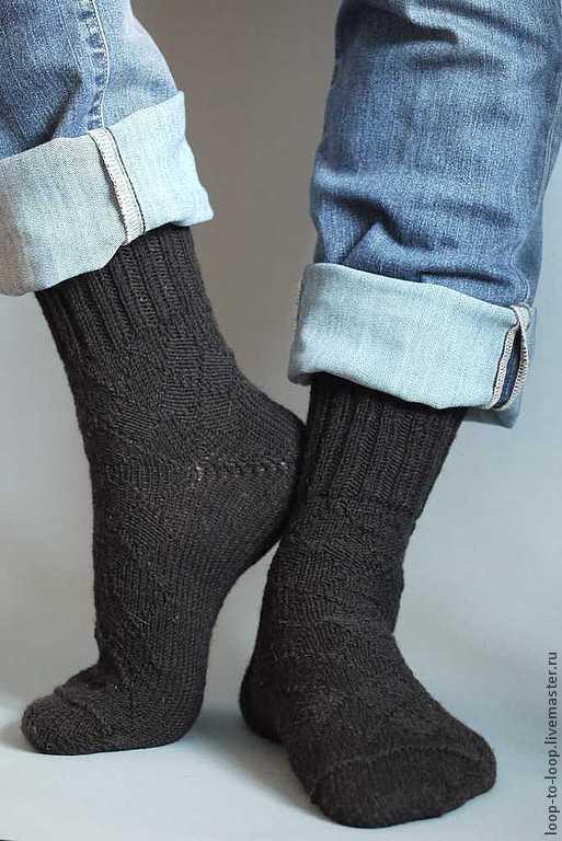 """Носки, Чулки ручной работы. Ярмарка Мастеров - ручная работа. Купить Вязаные мужские носки с рисунком """"аргайл"""". Handmade. Черный"""