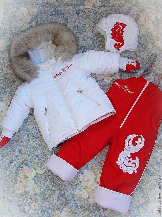 Одежда унисекс ручной работы. Ярмарка Мастеров - ручная работа. Купить Зимний комплект в стиле олимпийской сборной с опушкой из нат. меха. Handmade.