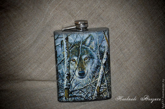 """Подарки для мужчин, ручной работы. Ярмарка Мастеров - ручная работа. Купить Фляжка """"Волк"""". Handmade. Фляга, волки, сувенир, сталь"""