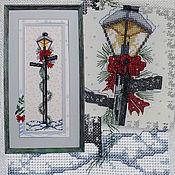 Картины и панно handmade. Livemaster - original item Cross stitch Christmas streetlight. Handmade.