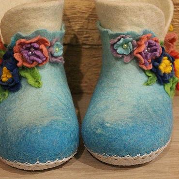 Обувь ручной работы. Ярмарка Мастеров - ручная работа Тапочки: валяные тапочки. Handmade.