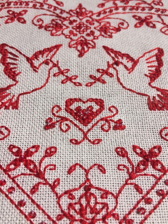 Вышивка СО-1403 Сердце с голубями Купить наборы для