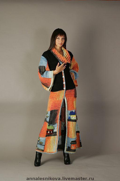 """Верхняя одежда ручной работы. Ярмарка Мастеров - ручная работа. Купить Пальто """"Домики"""" приталенное длинное 2. Handmade."""