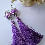 Украшения handmade. Livemaster - original item Earrings tassels long purple bead item 046. Handmade.