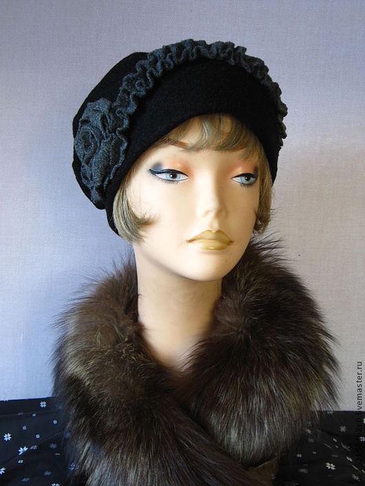 """Шляпы ручной работы. Ярмарка Мастеров - ручная работа. Купить """"Ретро"""" - 04  шапочка вареная шерсть. Handmade. Черно-серый"""