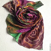 """Аксессуары ручной работы. Ярмарка Мастеров - ручная работа Шарф """"Цветы лиловые полей"""" батик, натуральный шелк. Handmade."""