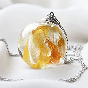Украшения handmade. Livemaster - original item Large transparent pendant-ball of jewelry resin with yellow flower.. Handmade.