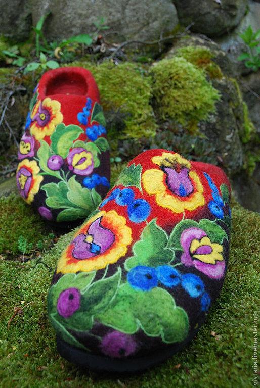 Обувь ручной работы. Ярмарка Мастеров - ручная работа. Купить Тапочки  «Петриковские»русский стиль. Handmade. Валяные тапочки, тапочки из шерсти