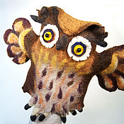 Куклы и игрушки ручной работы. Ярмарка Мастеров - ручная работа Перчаточная кукла Сова с желтыми глазами. Handmade.