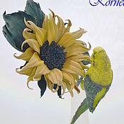 Украшения handmade. Livemaster - original item Leather flowers. Sunflower from the skin