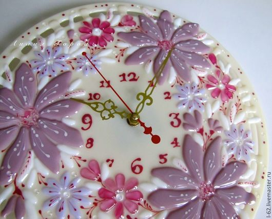 Clocks for Home handmade. Livemaster - handmade. Buy watch glass, fusing Pink Paradise.Fusing, watch unusual