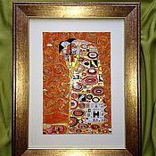 """Картины и панно ручной работы. Ярмарка Мастеров - ручная работа Картина на стекле """"Объятия"""" (витражная картина). Handmade."""