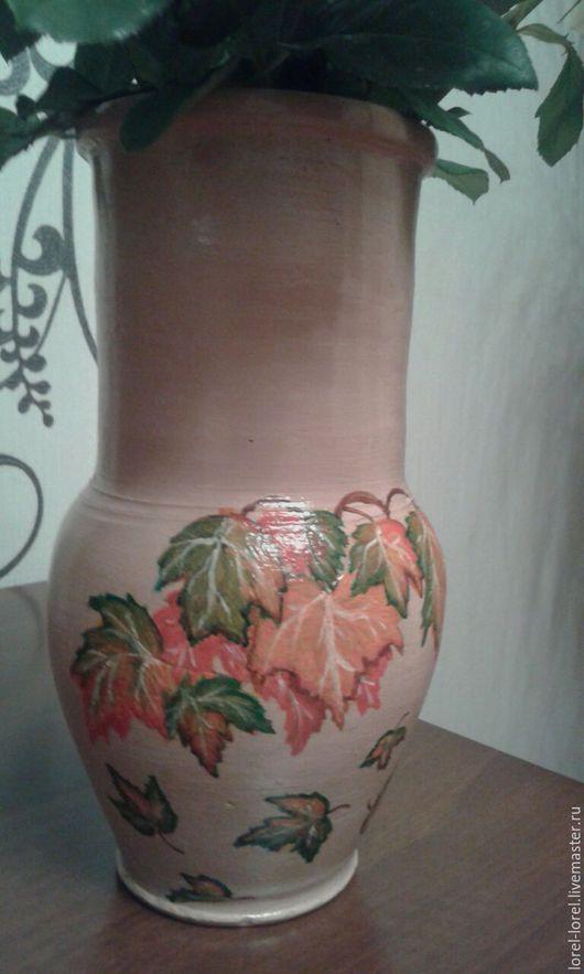 Вазы ручной работы. Ярмарка Мастеров - ручная работа. Купить Кленовые листья. Handmade. Кремовый, глиняный горшок, кленовые листья