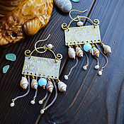 Earrings manualidades. Livemaster - hecho a mano Brass earrings