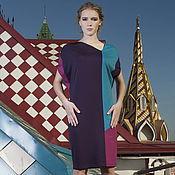 Одежда ручной работы. Ярмарка Мастеров - ручная работа Платье фиолетовое геометрия комбинированное колор блок асимметрия. Handmade.