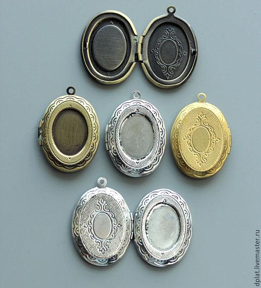 Для украшений ручной работы. Ярмарка Мастеров - ручная работа. Купить Овальные кулоны медальоны (ом10) открывающиеся с секретом. Handmade.