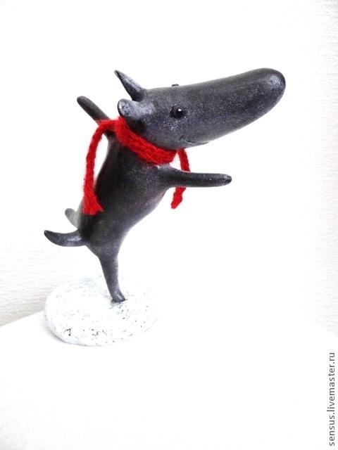 """Игрушки животные, ручной работы. Ярмарка Мастеров - ручная работа. Купить Папье-маше, """"Веселый щенок Пиппин"""". Handmade. Серый"""