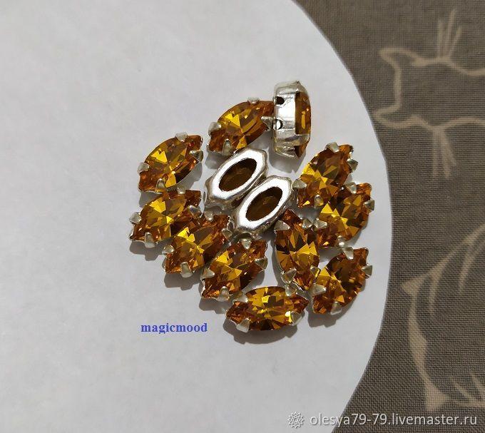 1pc Czech rhinestones 10h5mm Topaz Navette Czech rhinestones in DAC, Rhinestones, Chelyabinsk,  Фото №1