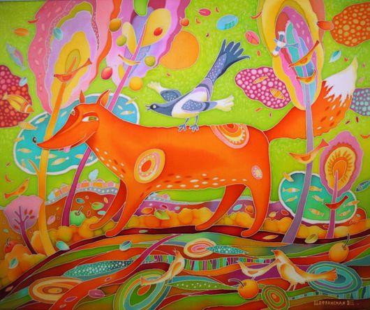 """Животные ручной работы. Ярмарка Мастеров - ручная работа. Купить Батик """" Лиса и сорока на голубых озерах"""". Handmade. Разноцветный"""