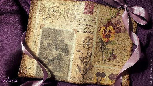 обложка для паспорта, обложка декупаж, обложка женская, обложка для автодокументов, обложка с анютиными глазками, обложка в стиле ретро, купить обложки в москве