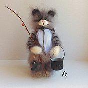 Куклы и игрушки handmade. Livemaster - original item kotofey fishing 18 cm soft knit interior cat toy. Handmade.