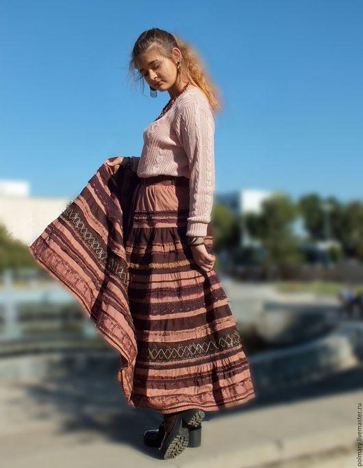 """Юбки ручной работы. Ярмарка Мастеров - ручная работа. Купить Бохо-юбка """"Шоколад"""". Handmade. Бохо-стиль, длинная юбка"""
