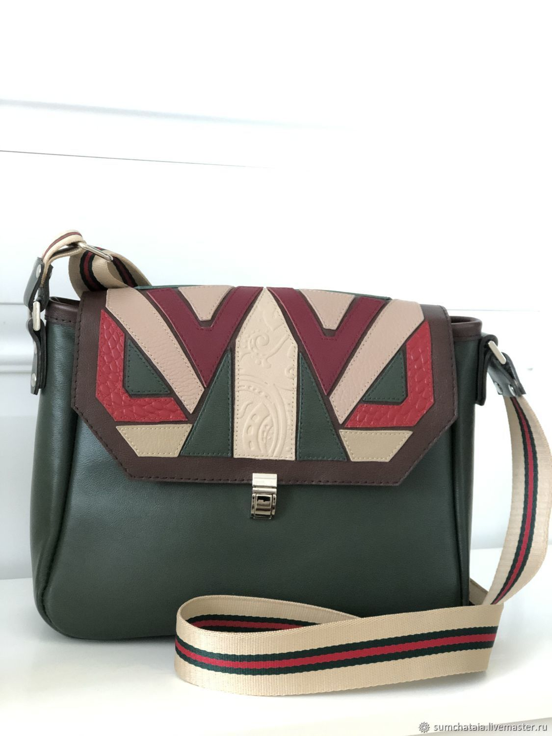Leather bag with a long belt ' Geometry of style», Classic Bag, Yaroslavl,  Фото №1