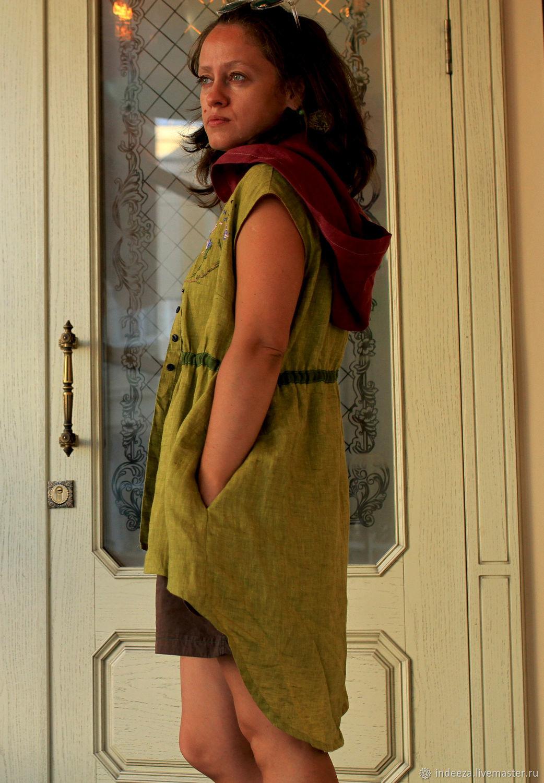 The duster vest linen 'Thistle', Vests, Samara,  Фото №1