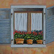 """Картины и панно ручной работы. Ярмарка Мастеров - ручная работа Картина """"Окно с геранью"""". Handmade."""