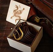 Ремни ручной работы. Ярмарка Мастеров - ручная работа Коричневый мужской ремень из кожи -BRAVE- в подарочной упаковке. Handmade.
