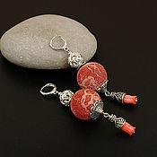 Украшения ручной работы. Ярмарка Мастеров - ручная работа Крупные длинные серьги Гибралтар губчатый красный коралл. Handmade.