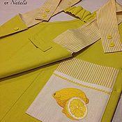 """Фартуки ручной работы. Ярмарка Мастеров - ручная работа Фартук с вышивкой из льна """"Лимоны"""". Handmade."""