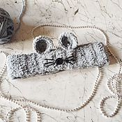 Аксессуары ручной работы. Ярмарка Мастеров - ручная работа Тёплая повязка на голову с ушками Мышка вязаная для девочки. Handmade.