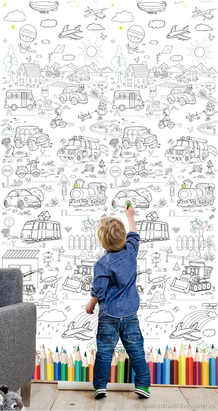 Drawing Wallpaper ' Transport` is filled with a large number of different cars: Construction equipment, air, land and sea transport.