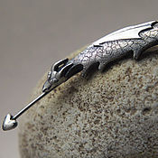 Украшения ручной работы. Ярмарка Мастеров - ручная работа Крадущийся Дракон - брошь из серебра. Handmade.