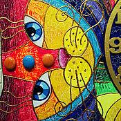 """Для дома и интерьера ручной работы. Ярмарка Мастеров - ручная работа Часы большие """"Радужный кот"""". Handmade."""