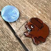 Украшения handmade. Livemaster - original item Winnie the Pooh balloon brooch, brown, blue