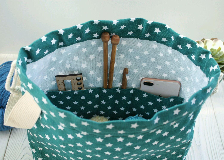Органайзеры для рукоделия ручной работы. Ярмарка Мастеров - ручная работа. Купить Сумка для вязания с кольцом для маркеров и карманами Project bag. Handmade.