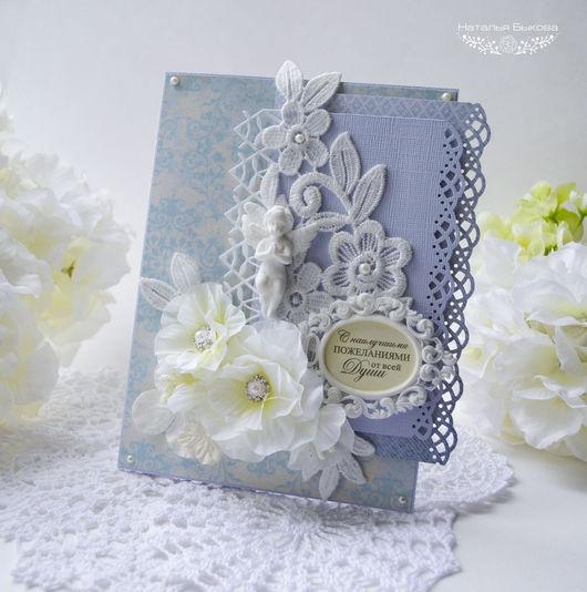 Открытки для женщин, ручной работы. Ярмарка Мастеров - ручная работа. Купить открытка с ангелом и молочными цветами. Handmade. Голубой