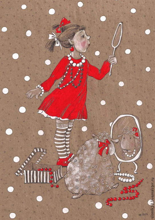 Девочка у зеркала открытка