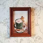 """Дизайн ручной работы. Ярмарка Мастеров - ручная работа Картина-открытка """"Рождественский кофе"""" (Оригинал). Handmade."""