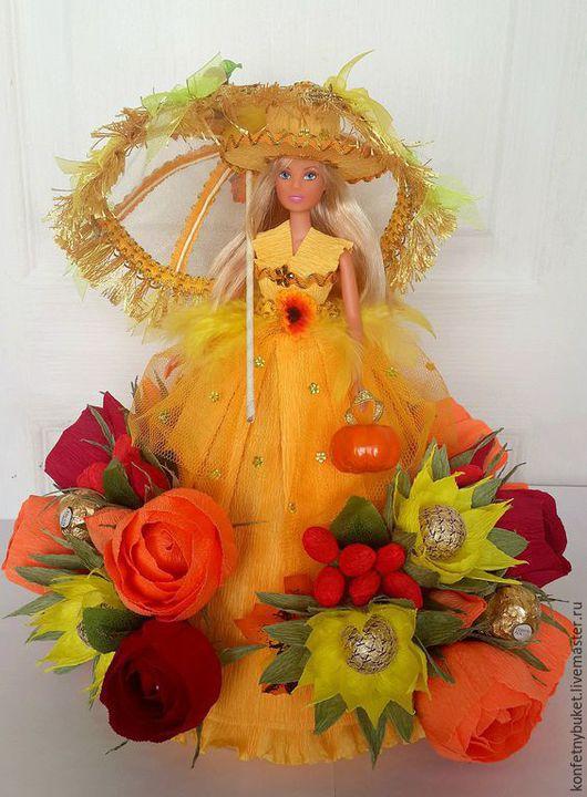 """Букеты ручной работы. Ярмарка Мастеров - ручная работа. Купить Конфетная кукла """"Фея осени"""". Handmade. Разноцветный, подарок девушке"""