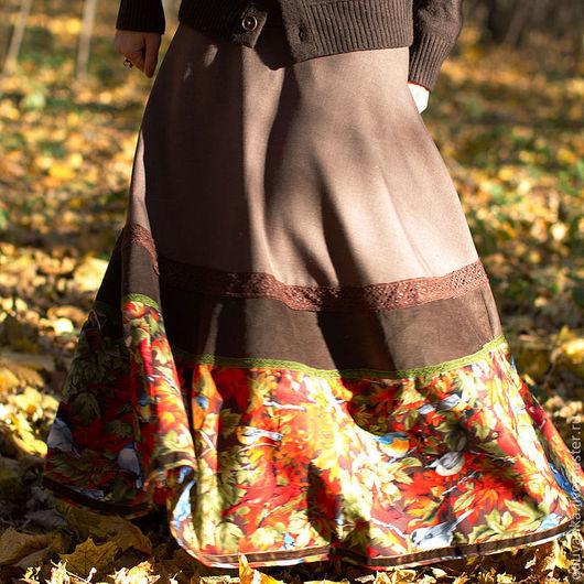 """Юбки ручной работы. Ярмарка Мастеров - ручная работа. Купить Теплая юба """"Шорох листьев"""". Handmade. Коричневый, длинная юбка"""