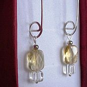 Украшения handmade. Livemaster - original item Citrine and rock crystal earrings in 925 silver. Handmade.