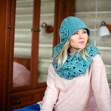 Аксессуары handmade. Livemaster - original item Set the Cloche hat and cowl crochet pattern.. Handmade.