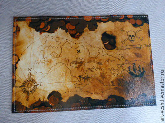 Кожаная обложка для паспорта-1 Обложка для паспорта Карта пиратов. Подарок на 23 февраля.
