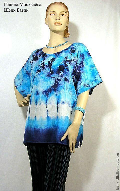 """Блузки ручной работы. Ярмарка Мастеров - ручная работа. Купить Блузка шелк батик""""Ясное Море""""шелковая блузка ручная роспись. Handmade."""