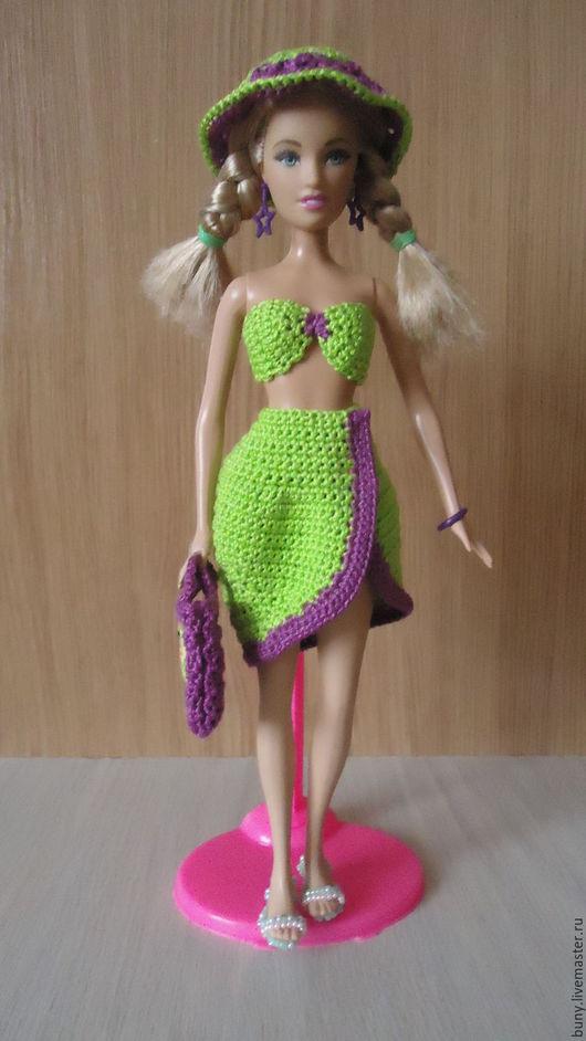 Одежда для кукол ручной работы. Ярмарка Мастеров - ручная работа. Купить Пляжный ансамбль. Handmade. Ярко-зелёный, одежда для барби